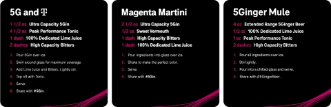T-Mobile's set of recipes include a magenta riff on a classic, the 5G & T, as well as a Magenta Martini, a non-alcoholic 5Ginger Mule and more. (Photo: Business Wire)