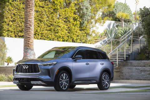 The all-new 2022 INFINITI QX60, combining powerful athleticism with harmony and simplicity. AUTOGRAPH grade shown in Moonbow Blue. (Photo: Business Wire)