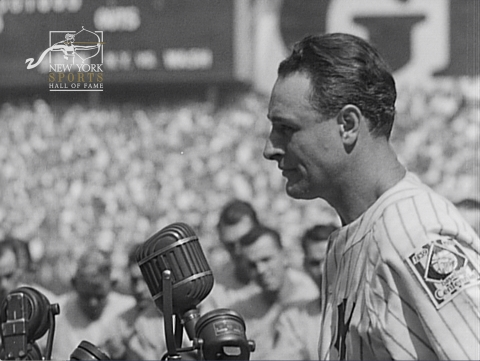"""The New York Sports Hall of Fame relaunched today with a slate of digital firsts, including bidding on a non-fungible token (NFT) of the speech regarded as the most famous in sports history. The historic 1-of-1 NFT of uncut extant film of the iconic 1939 """"Luckiest Man"""" address by New York Yankees captain Lou Gehrig is open for bidding at opensea.io/collection/gehrig. The film is the longest single-source recording of the speech and the first known Gehrig speech NFT. Delivered at Lou Gehrig Appreciation Day at Yankee Stadium, the speech is part of a New York Sports Hall of Fame collection that includes filmed remarks at the same ceremony by baseball legend Babe Ruth and Yankees manager Joe McCarthy. The three men were inducted into the Hall between 1989 and 1991. (Photo: Business Wire)"""