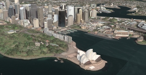 This Maxar 3D Surface Model shows a view of the Sydney Opera House in Sydney, Australia. Image credit: Maxar Technologies
