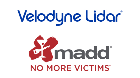 Velodyne Lidar announced it is partnering with Mothers Against Drunk Driving (MADD) on a public education initiative to build public acceptance of autonomous vehicle technology with the goal of reducing and eventually eliminating impaired driving collisions. (Graphic: Velodyne Lidar)