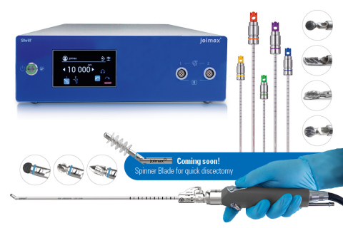joimax® Launches New Generation of Shrill® Shaver Drill System. Developed for the removal of soft tissue and bone, the system is also highly effective in treating stenosis, a degenerative spine condition. (Photo: Business Wire)