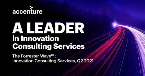 Accenture has been named a leader in The Forrester Wave™: Innovation Consulting Services, Q2 2021 report. (Graphic: Business Wire)