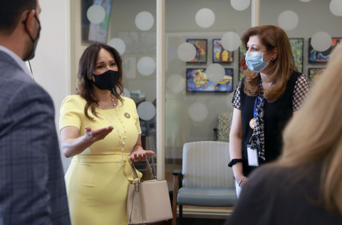 (L-R) Senator Rosilicie Ochoa Bogh meets with Dr. Reem Tawfik, primary care physician with Optum, at the ribbon-cutting ceremony and community open house for the new Optum-Hemet Primary Care Clinic and Community Center. Credit: Sandy Huffaker