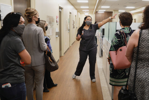 TaNeish Torres, Optum, gives a tour of the new Optum-Hemet Clinic and Community Center. Credit: Sandy Huffaker