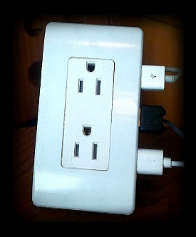 SHD Devices in-wall USB-enabled 8 receptacle IoT Hub with 2 of 8 USB plugs being utilized. (Photo: Business Wire)