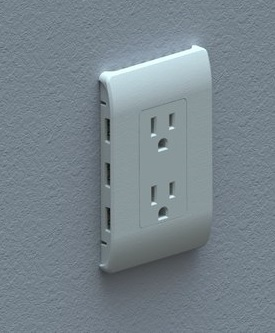 View of in-wall USB-enabled 8 receptacle IoT Hub as it would appear installed (Photo: Business Wire)