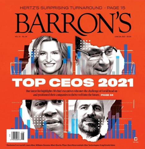 Barron's Top CEOs 2021 Magazine Cover Featuring Williams-Sonoma, Inc.'s President and Chief Executive Officer Laura Alber (Graphic: Business Wire)