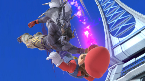 In Super Smash Bros. Ultimate, Kazuya's main attacks are similar to his fighting moves in TEKKEN, but to give him the midair jumps, smash attacks and special moves that the Super Smash Bros. series is known for, his Devil's Power is put to use. (Graphic: Business Wire)