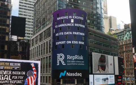 Announcement of RepRisk partnership with Nasdaq featured on the Nasdaq MarketSite Tower in Times Square (Photo: Business Wire)