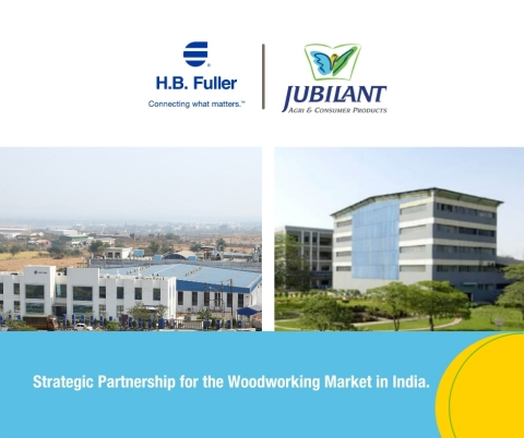 H.B. Fuller and Jubilant Industries announced a strategic partnership for the Woodworking industry in India. (Graphic: Business Wire)