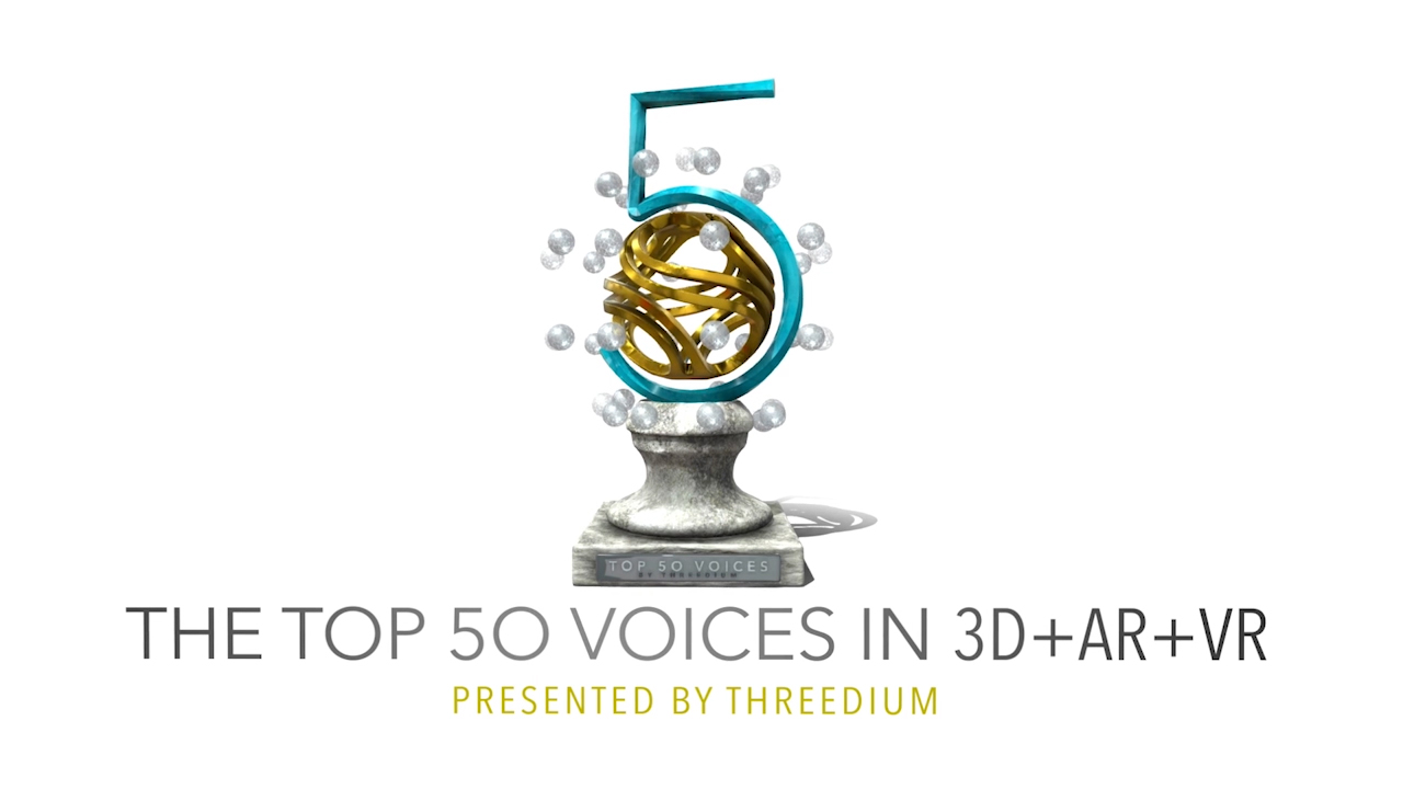 The Top 50 Voices in 3D +AR +VR from Threedium. From tech futurists and business leaders to game designers and developers, these unique voices are sparking conversation about important industry topics and helping to build a bigger, better XR community along the way.
