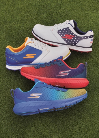 Skechers, Official Team Footwear Supplier of the 2021 Solheim Cup, reveals exclusive Skechers GO GOLF Elite 3™ and Skechers GO RUN Supersonic™ styles in United States and European team colors. (Photo: Business Wire)