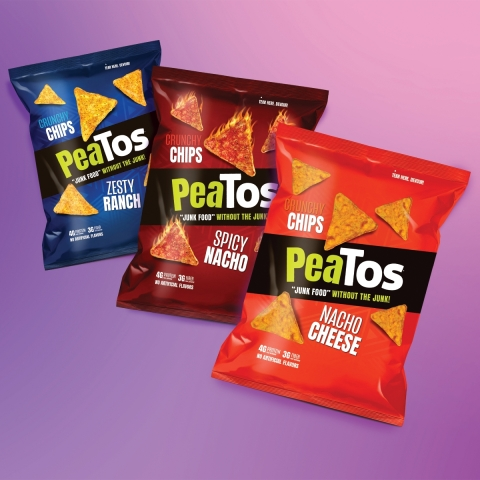 Zesty Ranch, Spicy Nacho, and Nacho Cheese PeaTos chips.(Photo: Business Wire)