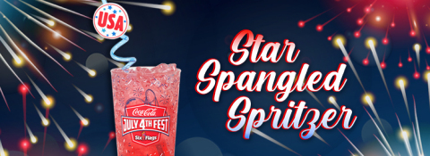 Enjoy the delicious, and refreshing new Star-Spangled Spritzer beverage during Coca Cola July 4th Fest. Members enrolled in the Six Flags Membership Rewards program get 4x the reward points with the purchase of this limited time only drink. (Photo: Business Wire)
