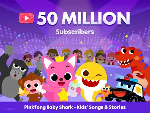 The global hit Pinkfong Baby Shark's YouTube channel surpassed 50 million subscribers as of June 29th, 2021 in ET. With the massive popularity of Pinkfong Baby Shark, Pinkfong became one of the most influential digital brands for kids. Released in 2016, Pinkfong's Baby Shark Dance holds the position as the No.1 most-viewed YouTube video since November 2020 and surpassed 8.8 billion views as of June 2021. Fun, educational content capturing the cultural zeitgeist is what makes kids and families fall in love with Pinkfong. (Graphic: Business Wire)