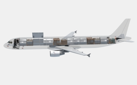 The A321-200PCF has the highest standard payload—approx. 59,680 pounds (27,070 kg), WV 000—with 14 A-code positions and no OEM weight upgrade prerequisites. (Graphic: Business Wire)