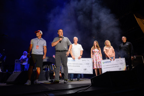 Cornerstone Building Brands Chief Financial Officer Jeff Lee (second from left) presents checks to Coweta Community Foundation Executive Director Kristin Webb (third from right) and Habitat for Humanity Affiliate Support Manager, U.S. Long-Term Disaster Recovery Michael Mongeon (far right) at the Where I Come From: Tornado Benefit Featuring Alan Jackson on June 26. Also pictured are Emcee and ESPN College Football Analyst David Pollack and Cornerstone Brands EVP, Operations Jim Keppler and Chief Marketing Officer Susan Selle. (Photo: Business Wire)