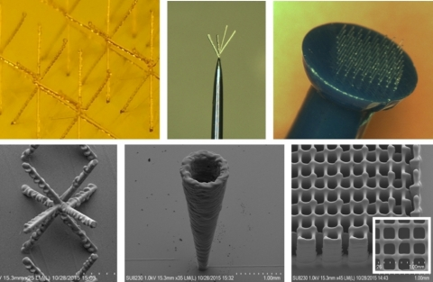 """Examples of Aerosol Jet 3D Printed Micro-Structures, which include high overhang and high aspect-ratio printing, as well as demonstration printing """"on pins and needles."""" Photo courtesy of Optomec, Inc."""