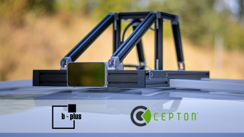 Cepton's Vista-P60 lidar sensor is integrated into b-plus' AVETO tool box to enable the testing of sensor capabilities directly within the test vehicle MAX. © b-plus technologies. (Photo: Business Wire)