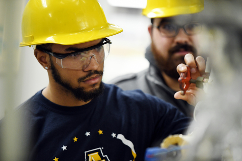 Undergraduate chemical engineering students at North Carolina A&T State University learn about distillation processes inside a laboratory at McNair Hall. Photo credit: North Carolina A&T State University College of Engineering