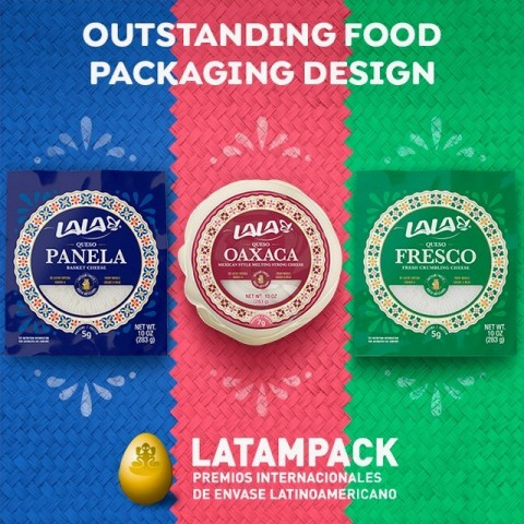 """Three authentic Mexican artisan cheese products recently introduced by LALA U.S. -- Queso Fresco, Queso Panela, and Queso Oaxaca -- are being recognized for """"Outstanding Food Packaging Design"""" by the Latampack International Awards. (Graphic: Business Wire)"""