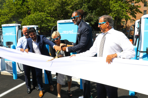 Revel's ribbon cutting ceremony to celebrate the opening of its first electric vehicle (EV) fast charging Superhub in Brooklyn. (Photo: Business Wire)