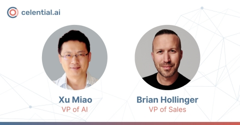 Celential.ai appoints Dr. Xu Miao as Vice President of Artificial Intelligence and Brian Hollinger as Vice President of Sales. The company is also expanding its AI-powered Virtual Recruiter service into the sales recruiting vertical, built upon success in technical recruiting. (Graphic: Business Wire)
