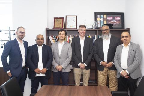 Thomas Farge (Sigfox MEA), Firoz Karumannil (iWire Co-Founder), Nicolas Andrieu (Sigfox EMEA EVP), Jeremy Prince (Sigfox Group CEO), Ahmed Fasih Akhtar (iWire Founder, CEO) and Vyomesh Thakkar (iWire Co-Founder) (Photo: iWire)
