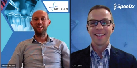 Due to travel restrictions Maarten de Groot, MolGen CEO and Colin Denver, SpeeDx CEO joined a virtual session to officially announce the collaboration that will combine Molgen liquid handling and purpose-built automation with SpeeDx COVID-19 diagnostic solutions - extending a full workflow offering to pathology laboratories. (Photo: Business Wire)