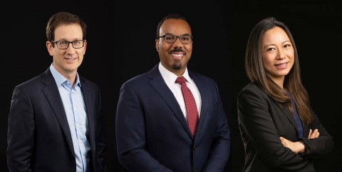 From left: Partners Matthew Kutcher, Bobby Earles and Lei Shen join Cooley's Chicago office, expanding the firm's national roster of talented litigators. The trio brings wide-ranging capabilities as a former high-level prosecutor, a seasoned litigator and a cyber/privacy/security authority. (Photo: Business Wire)