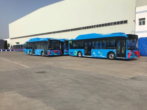 Loop Energy records over 75,000 kilometers of operation for fuel cell municipal bus fleet of Skywell New Energy Vehicles Group in Nanjing, China (Photo: Business Wire)