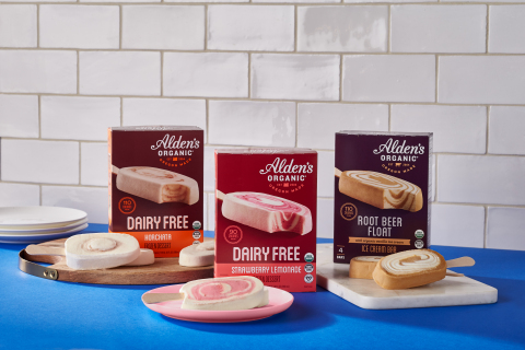Alden's Organic, America's best-selling organic ice cream, is launching a collection of ice cream bars inspired by classic beverages: Strawberry Lemonade, Root Beer Float and Horchata. (Photo: Business Wire)