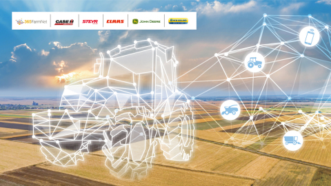 DataConnect ist eine Zusammenarbeit zwischen CNH Industrial, John Deere, CLAAS und 365FarmNet, um Landwirten und Lohnunternehmern zu ermöglichen, alle ihre Fahrzeuge innerhalb einer digitalen Plattform ihrer Wahl zu sehen. Abbildung: Marken der DataConnect Teilnehmer