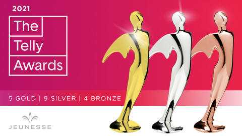 Global direct selling company Jeunesse® garnered 18 Telly Awards in the 2021 competition. (Graphic: Business Wire)