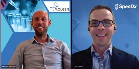 MolGen首席执行官Maarten de Groot和SpeeDx首席执行官Colin Denver参加了一场因旅行限制而在线上举办的会议,双方正式宣布合作,将Molgen液体处理和专门构建的自动化与SpeeDx新冠病毒诊断解决方案相结合,向病理实验室提供完整的工作流程。(照片:美国商业资讯)