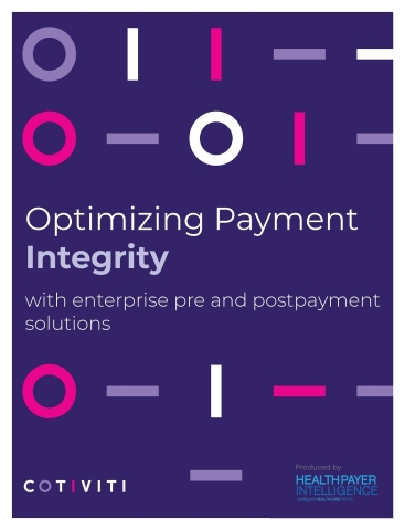 """Cotiviti's new report, """"Optimizing Payment Integrity with Enterprise Pre and Postpayment Solutions,"""" is based on a survey of 104 health plan stakeholders from more than 70 different payer organizations, conducted in partnership with HealthPayerIntelligence. (Graphic: Business Wire)"""