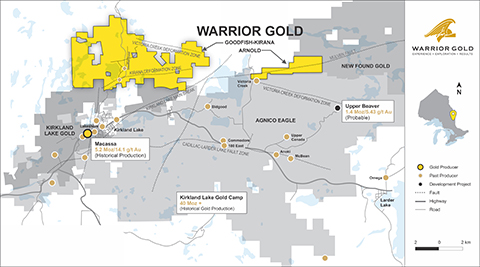 """Map 1. Location Map of Warrior Gold's new Arnold Property. References: Upper Beaver probable reserve referenced from Agnico Eagles Mines Ltd., 2021 Annual Information Form, page 73 and Macassa historic production referenced from the report addressed to Kirkland Lake Gold, """"Macassa Property, Ontario, Canada, Updated NI 43-101 Technical Report"""" dated July 19, 2019, page 16/17. (Photo: Business Wire)"""