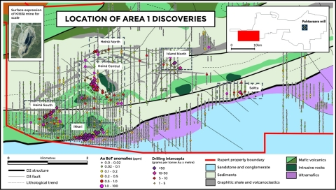 Figure 1. New discoveries and base of till anomalies at Area 1 (Graphic: Business Wire)