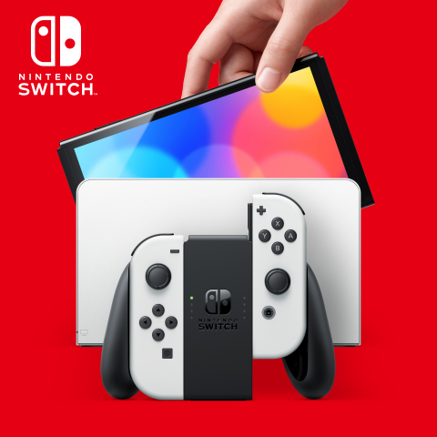Nintendo Switch (OLED model) has a similar overall size to the Nintendo Switch system, but with a larger, vibrant 7-inch OLED screen with vivid colors and crisp contrast. The system also features a wide adjustable stand for tabletop mode, a new dock with a wired LAN port, 64GB of internal storage, and enhanced audio for handheld and tabletop play. (Photo: Business Wire)