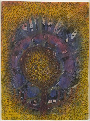草间弥生,《Little Flower》, 1952年,水粉画,彩色粉笔,油墨,纸本,11.5 x 8.5 英寸(照片:美国商业资讯)