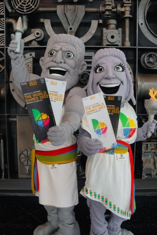 Vulcan (left) and Vesta (right), the official mascots of The World Games 2022, were introduced today. Named after the famous Vulcan statue that overlooks Birmingham, the largest cast iron statue in the world, Vulcan is joined by a female companion, Vesta. Both mascots are presented by O'Neal Industries and in partnership with Vulcan Park & Museum. (Photo: Business Wire)