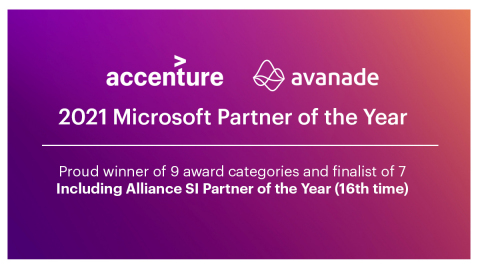 Accenture and Avanade have been named the 2021 Microsoft Global Alliance SI Partner of the Year for the 16th time. (Photo: Business Wire)