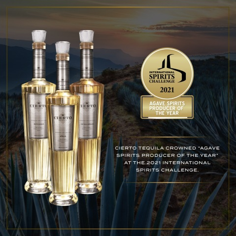 """Cierto Tequila crowned """"Agave Spirits Producer of the Year"""" at the 2021 International Spirits Challenge (Photo: Business Wire)"""