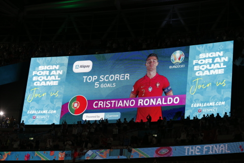 Portuguese football star Cristiano Ronaldo became the winner of the Gold Trophy of the Alipay Top Scorer Awards at UEFA EURO 2020. (Photo: Business Wire)