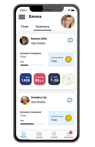 APP IMAGE: The Avanlee Care app family network. (Photo: Business Wire)