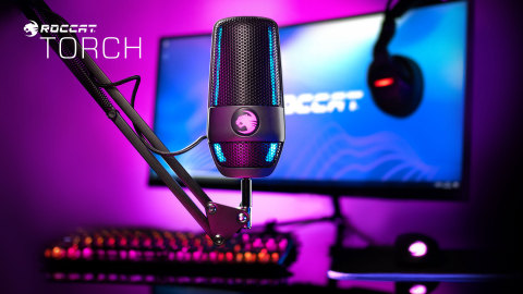 ROCCAT's all-new Torch USB mic can be mounted on your desktop and is compatible with a variety of boom arms and other mic accessories. The Torch is available for pre-order now for a MSRP of $99.99 and launches August 15, 2021 at www.ROCCAT.com and participating retailers. (Photo: Business Wire)