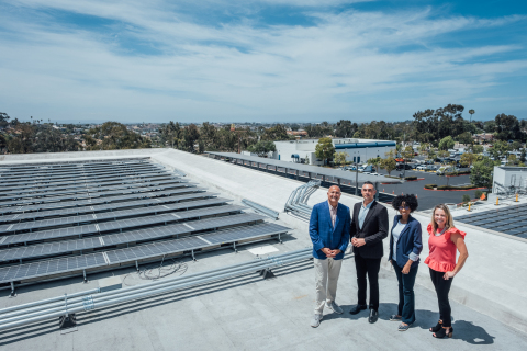 Cox Communications' onsite solar and battery energy storage, designed and built by PowerFlex, goes live at their San Diego corporate office. (l-r: Sam Attisha (Cox), Councilmember Sean Elo-Rivera, Councilmember Monica Montgomery Steppe, Chanelle Hawken (Cox). (Photo: Business Wire)
