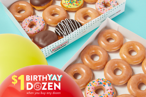 Fans can enjoy $1 Original Glazed® dozen and special BirthYAY Doughnut with purchase of any dozen July 16 (Graphic: Krispy Kreme)