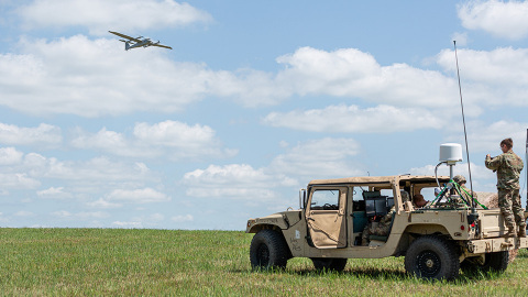 JUMP 20 is a VTOL, fixed-wing unmanned aircraft system that can be deployed quickly and requires no launch equipment or runway. (Photo: AeroVironment, Inc.)